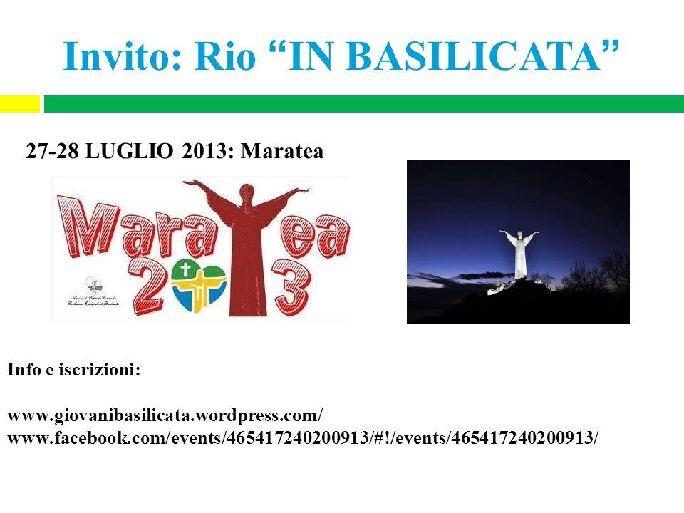 Invito: Rio IN BASILICATA