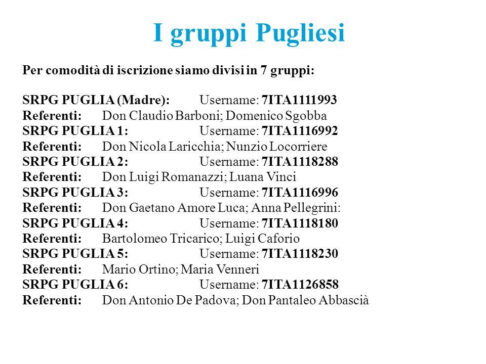 I gruppi Pugliesi Per comodità di iscrizione siamo divisi in 7 gruppi:
