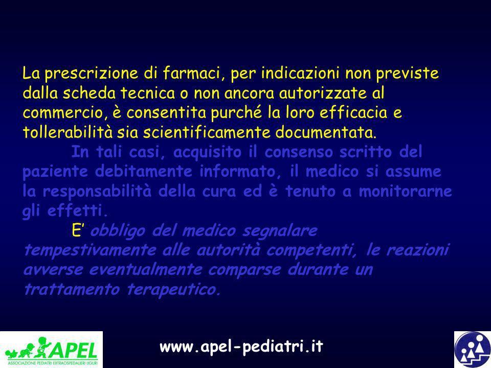 La prescrizione di farmaci, per indicazioni non previste dalla scheda tecnica o non ancora autorizzate al commercio, è consentita purché la loro efficacia e tollerabilità sia scientificamente documentata.
