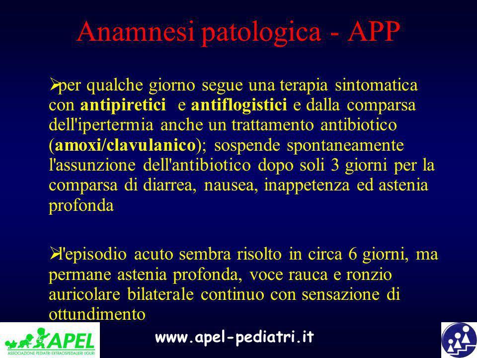 Anamnesi patologica - APP