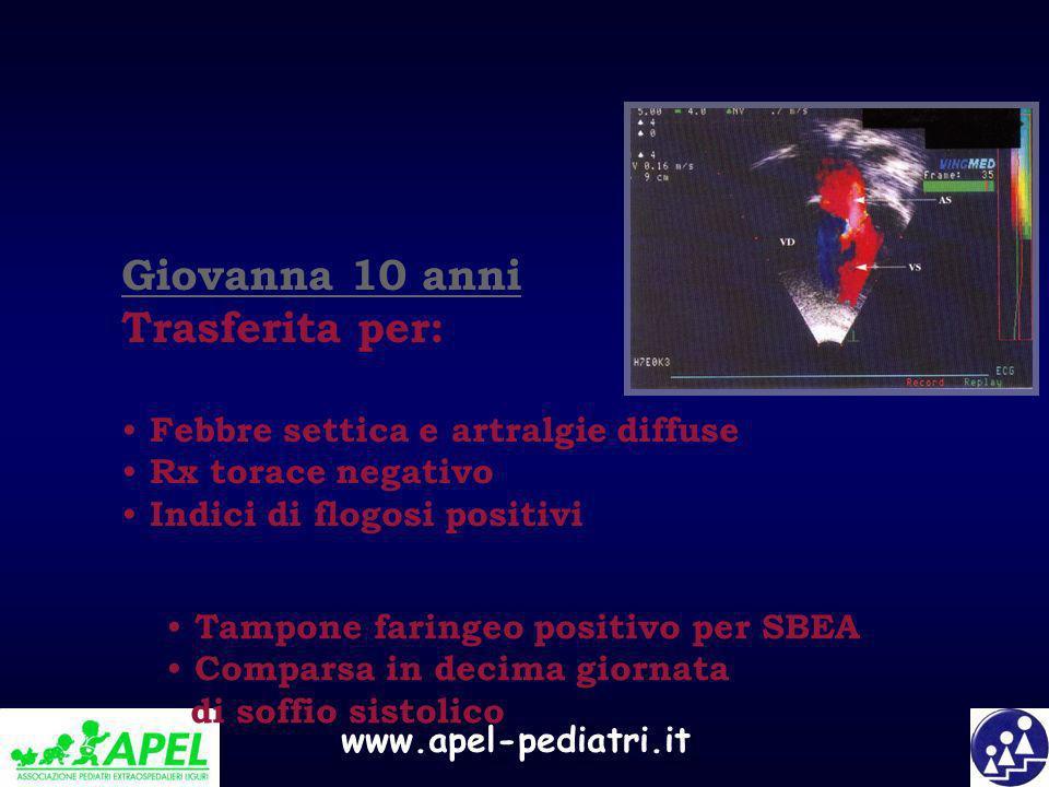 Giovanna 10 anni Trasferita per: Febbre settica e artralgie diffuse