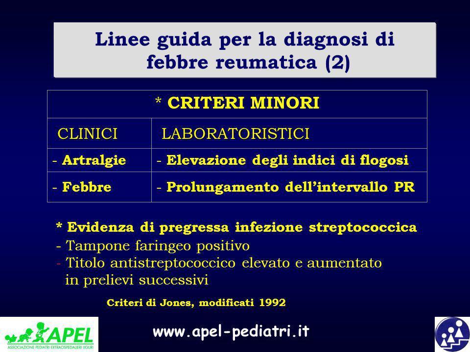 Linee guida per la diagnosi di febbre reumatica (2)