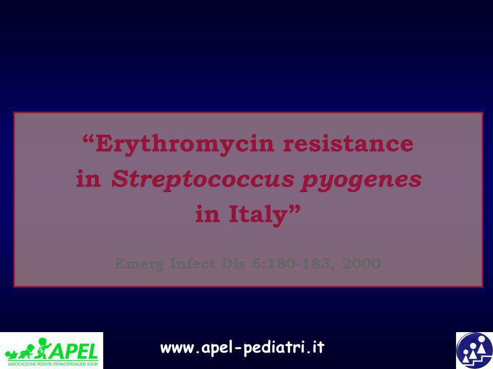 Erythromycin resistance in Streptococcus pyogenes in Italy