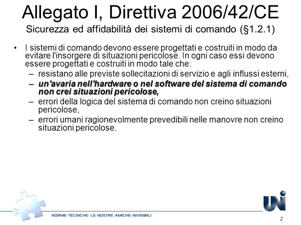 Allegato I, Direttiva 2006/42/CE Sicurezza ed affidabilità dei sistemi di comando (§1.2.1)