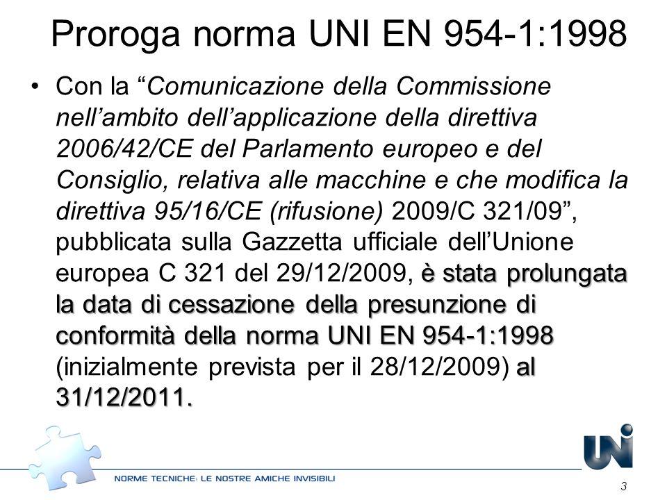 Proroga norma UNI EN 954-1:1998