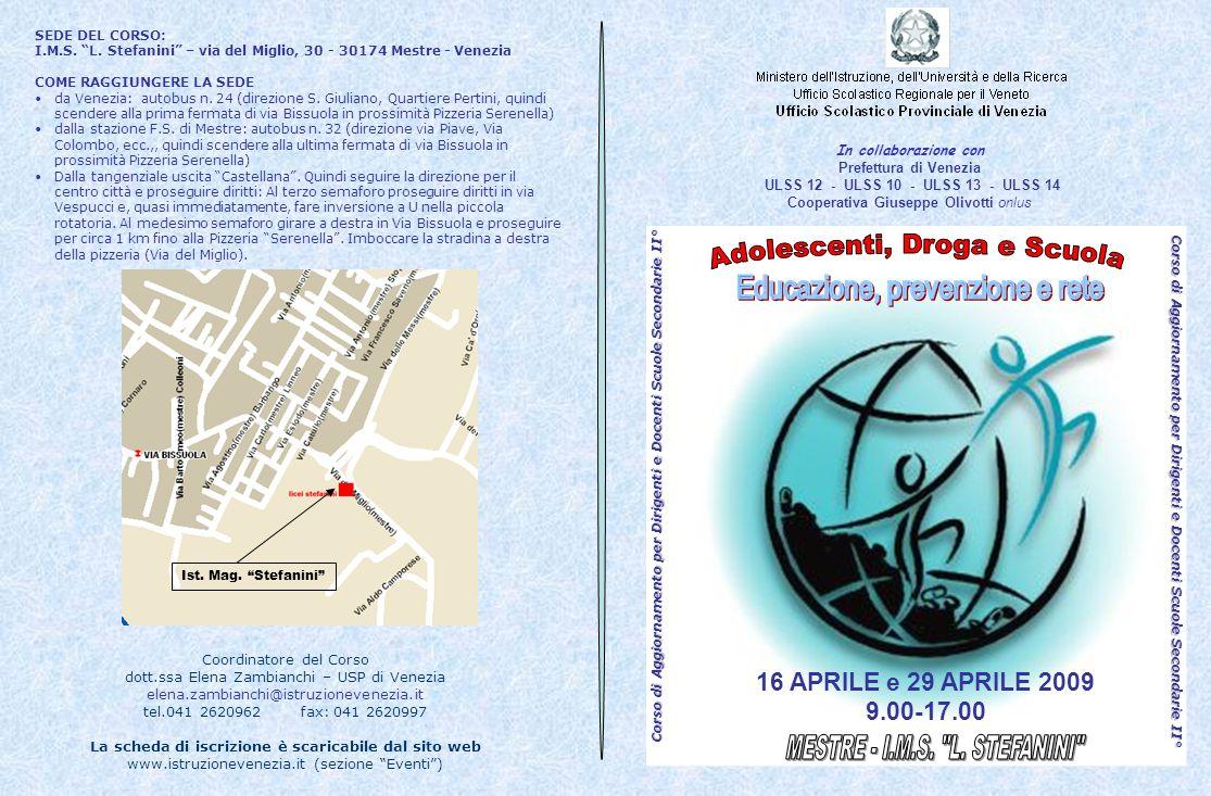 Adolescenti, Droga e Scuola Educazione, prevenzione e rete