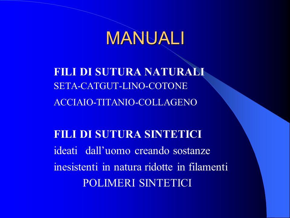 MANUALI FILI DI SUTURA NATURALI SETA-CATGUT-LINO-COTONE