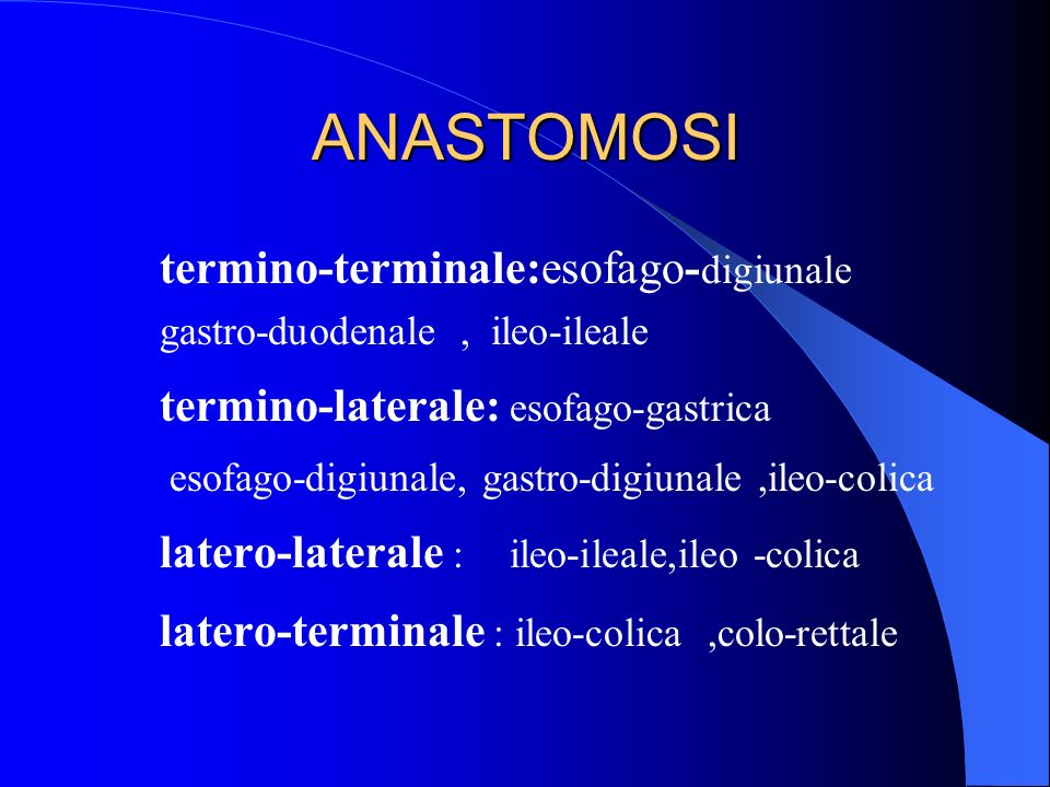 ANASTOMOSItermino-terminale:esofago-digiunale gastro-duodenale , ileo-ileale. termino-laterale: esofago-gastrica.