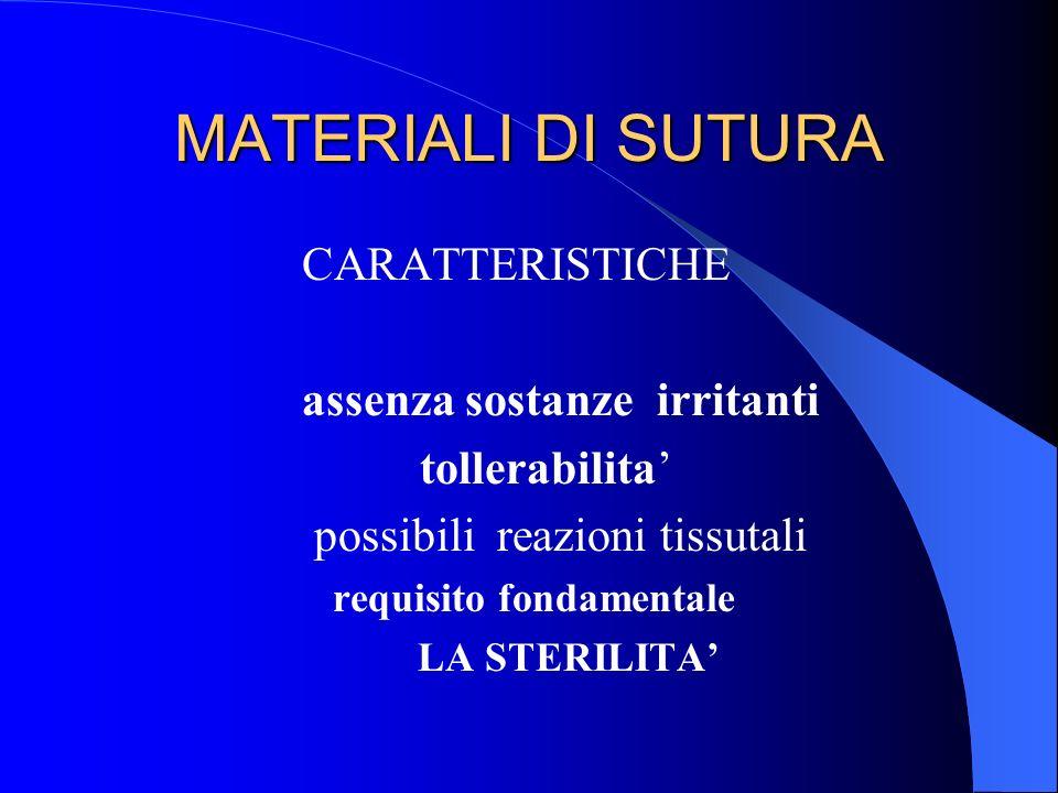 MATERIALI DI SUTURA CARATTERISTICHE assenza sostanze irritanti