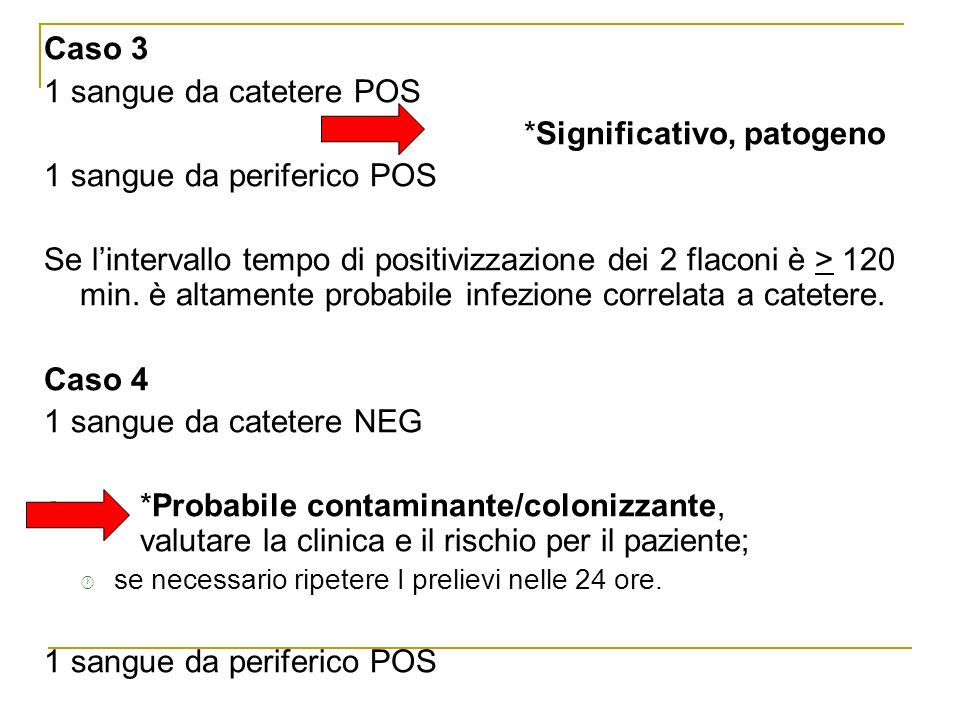 *Significativo, patogeno 1 sangue da periferico POS