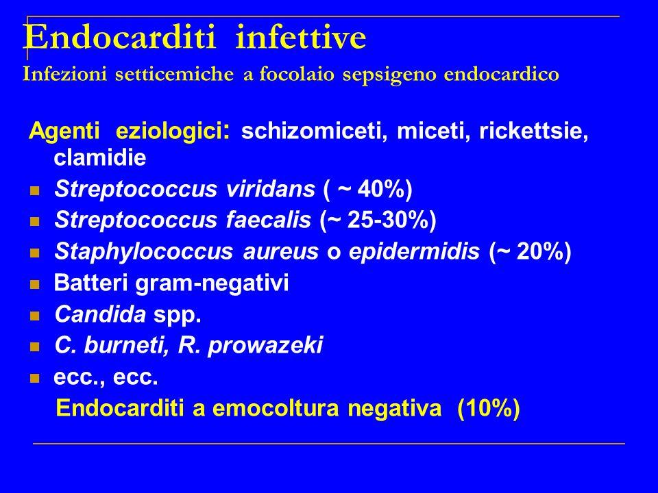 Endocarditi infettive Infezioni setticemiche a focolaio sepsigeno endocardico