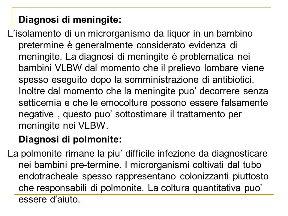 Diagnosi di meningite: