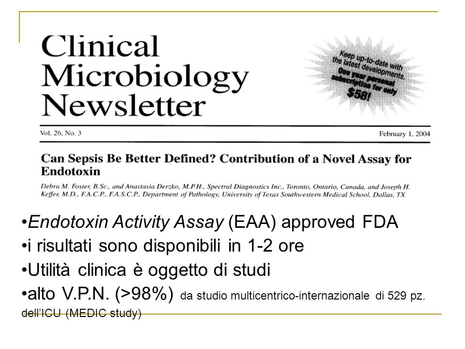 Endotoxin Activity Assay (EAA) approved FDA