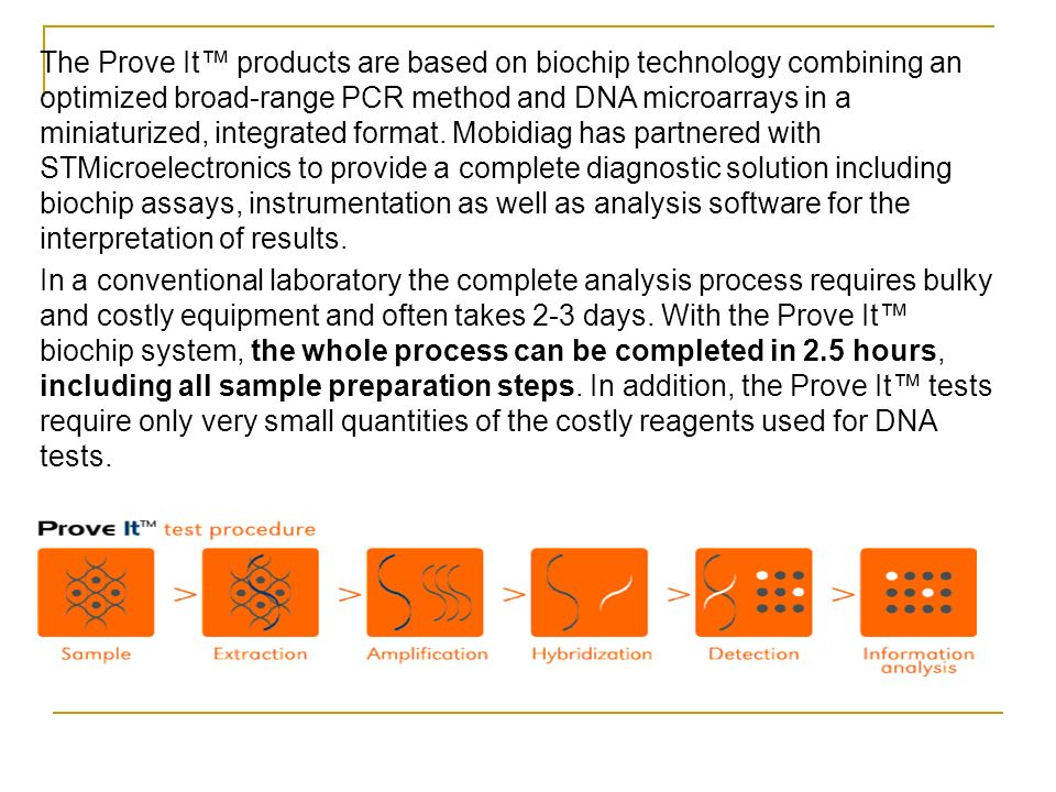 The Prove It™ products are based on biochip technology combining an optimized broad-range PCR method and DNA microarrays in a miniaturized, integrated format. Mobidiag has partnered with STMicroelectronics to provide a complete diagnostic solution including biochip assays, instrumentation as well as analysis software for the interpretation of results.