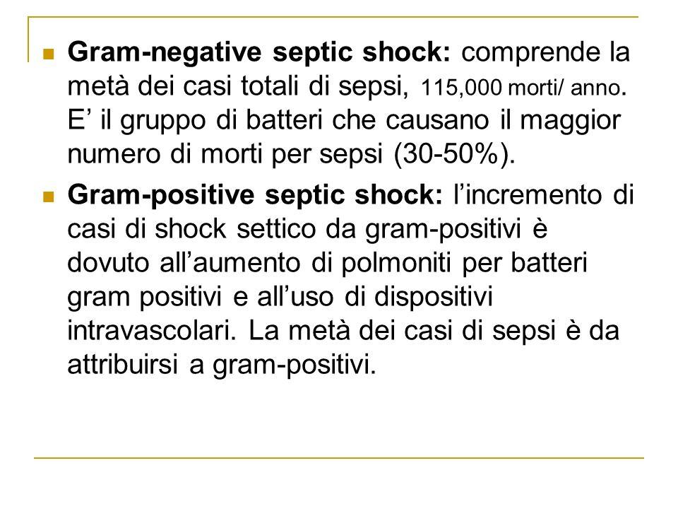 Gram-negative septic shock: comprende la metà dei casi totali di sepsi, 115,000 morti/ anno. E' il gruppo di batteri che causano il maggior numero di morti per sepsi (30-50%).