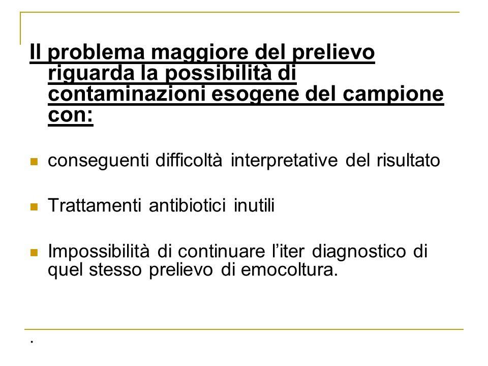 Il problema maggiore del prelievo riguarda la possibilità di contaminazioni esogene del campione con: