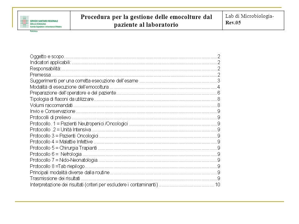 Procedura per la gestione delle emocolture dal paziente al laboratorio