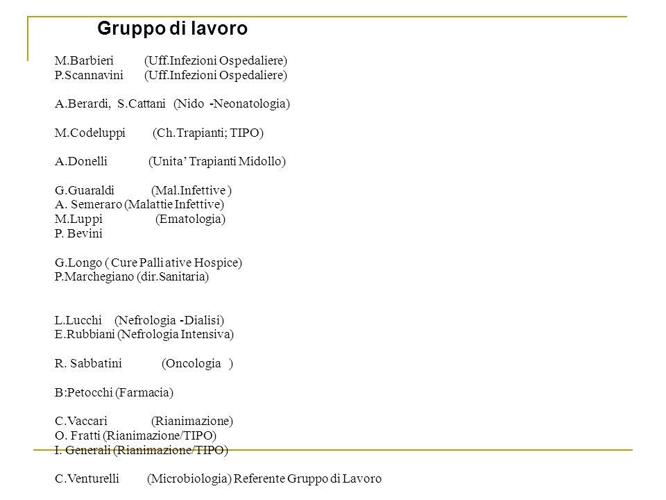 Gruppo di lavoro M.Barbieri (Uff.Infezioni Ospedaliere)