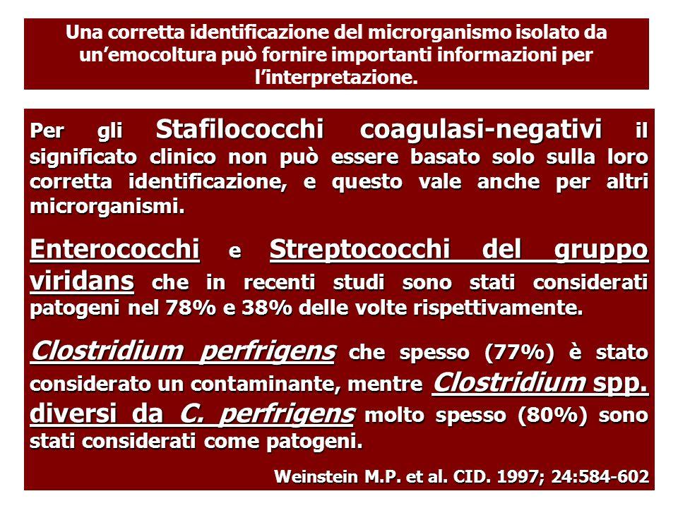 Una corretta identificazione del microrganismo isolato da un'emocoltura può fornire importanti informazioni per l'interpretazione.