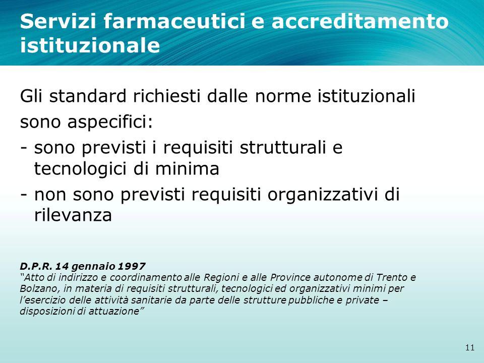 Servizi farmaceutici e accreditamento istituzionale