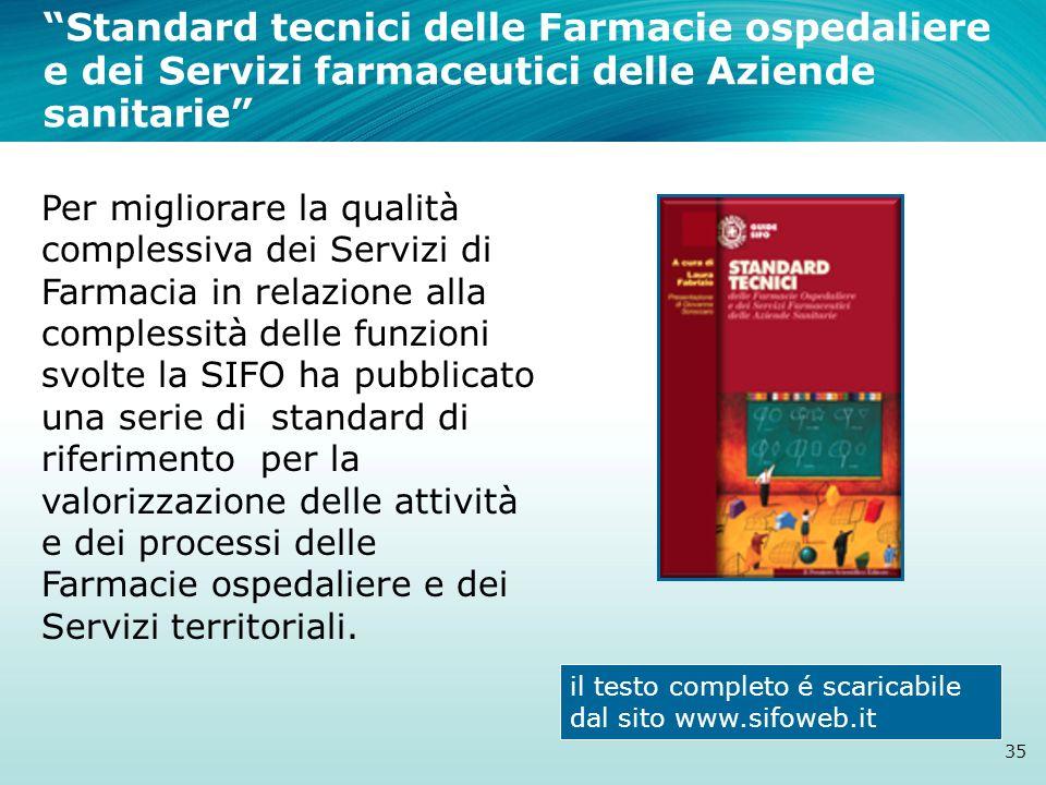 Standard tecnici delle Farmacie ospedaliere e dei Servizi farmaceutici delle Aziende sanitarie