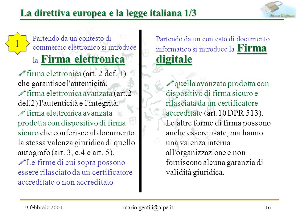 La direttiva europea e la legge italiana 1/3