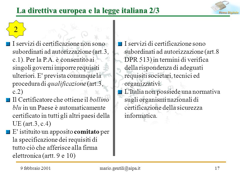 La direttiva europea e la legge italiana 2/3