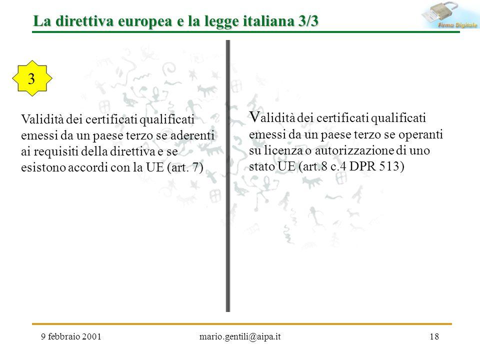 La direttiva europea e la legge italiana 3/3