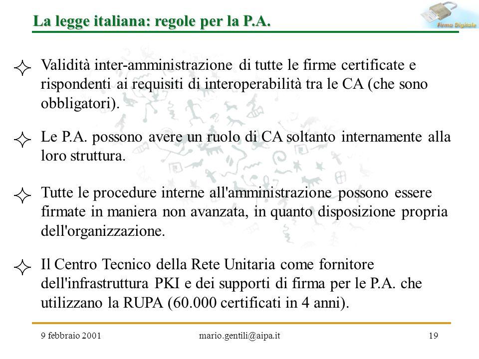 La legge italiana: regole per la P.A.
