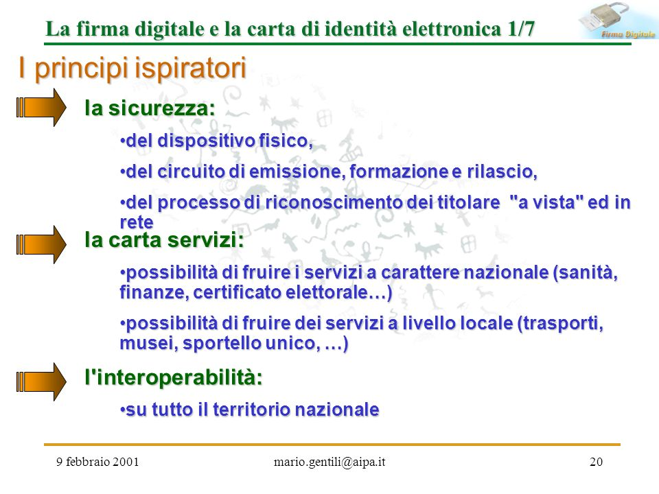 La firma digitale e la carta di identità elettronica 1/7