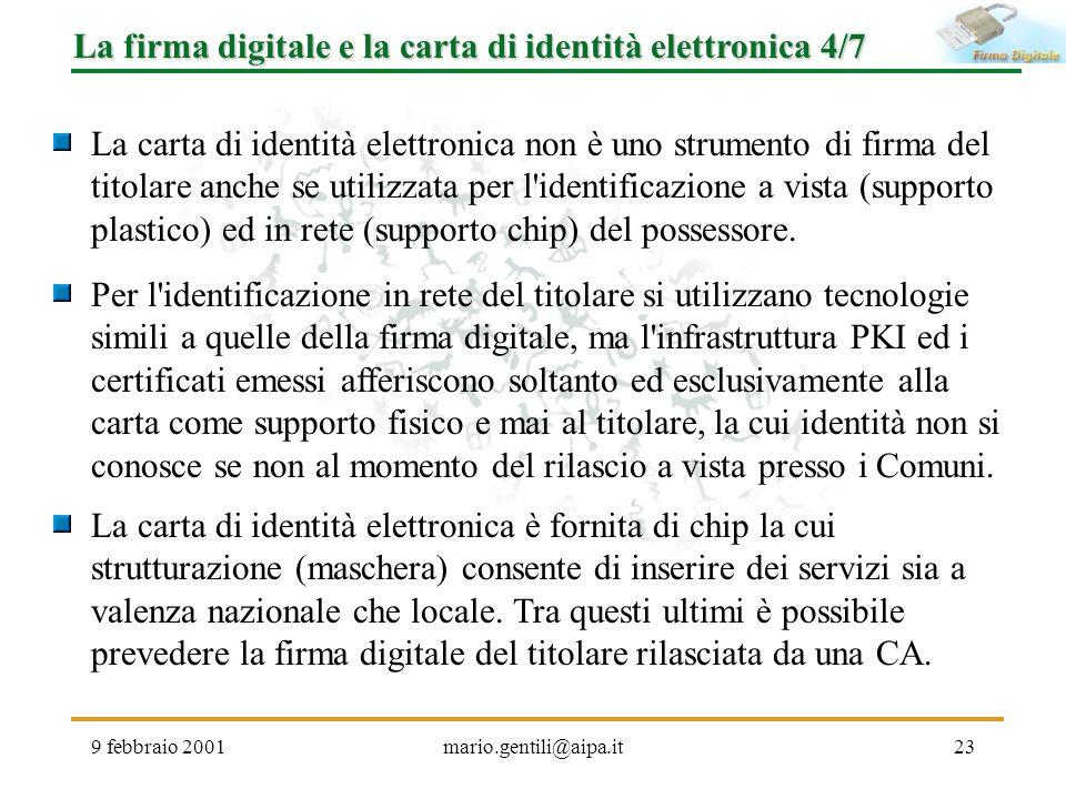 La firma digitale e la carta di identità elettronica 4/7