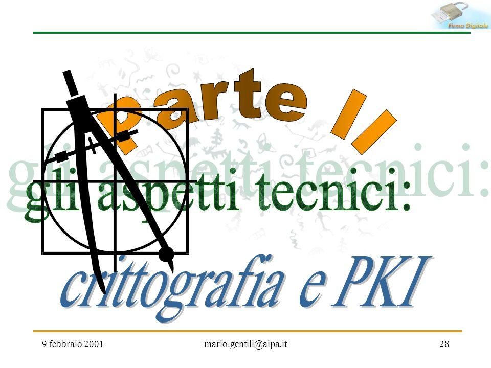 Parte II gli aspetti tecnici: crittografia e PKI 9 febbraio 2001