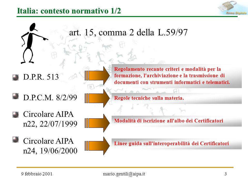 art. 15, comma 2 della L.59/97 Italia: contesto normativo 1/2