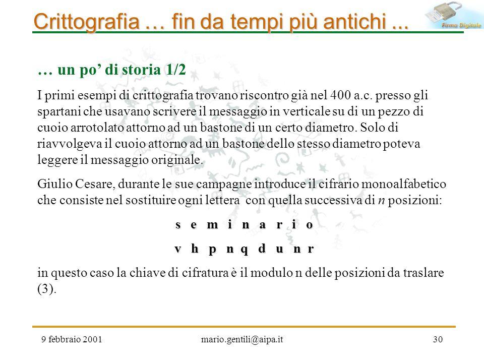 Crittografia … fin da tempi più antichi ...