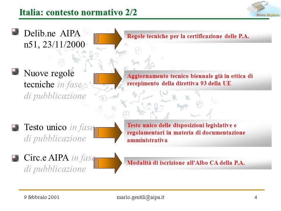 Italia: contesto normativo 2/2