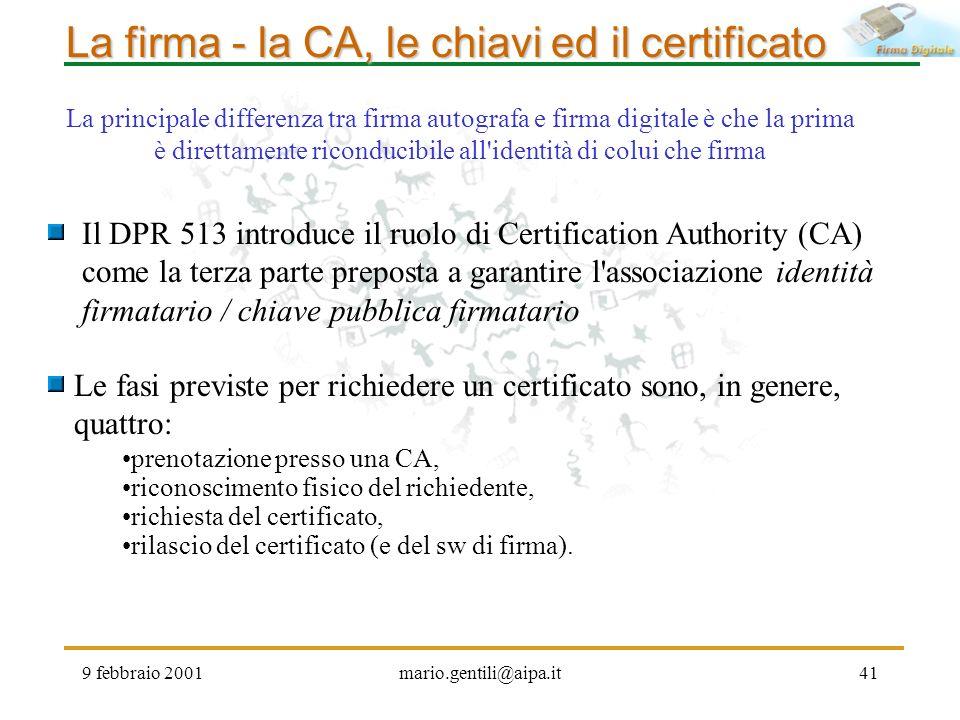 La firma - la CA, le chiavi ed il certificato