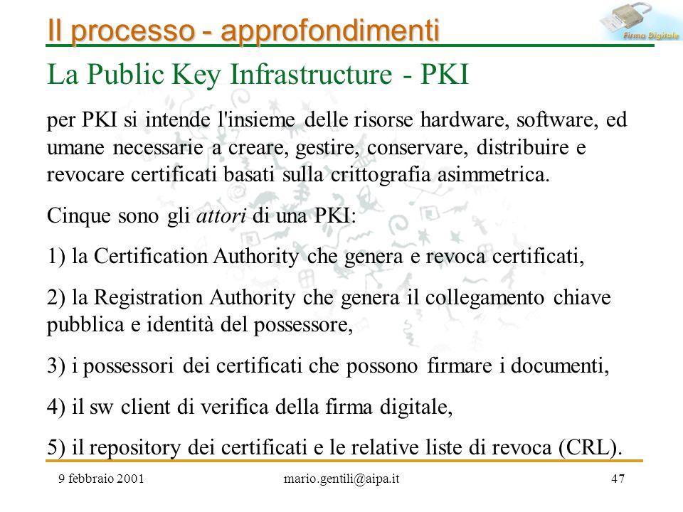 Il processo - approfondimenti La Public Key Infrastructure - PKI