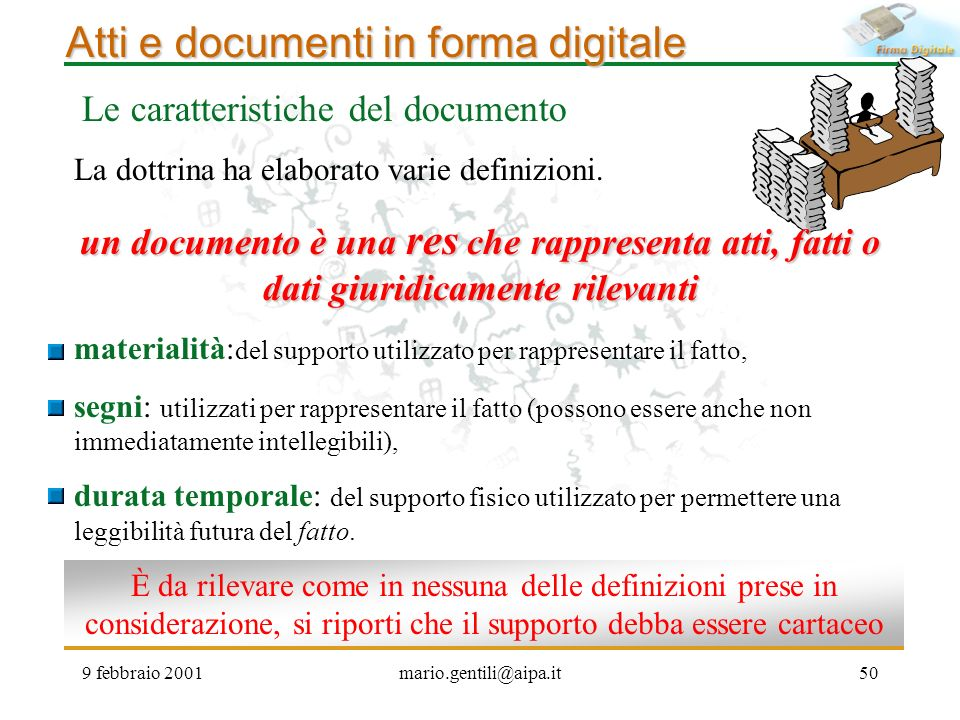 Atti e documenti in forma digitale