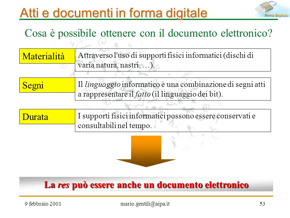 La res può essere anche un documento elettronico