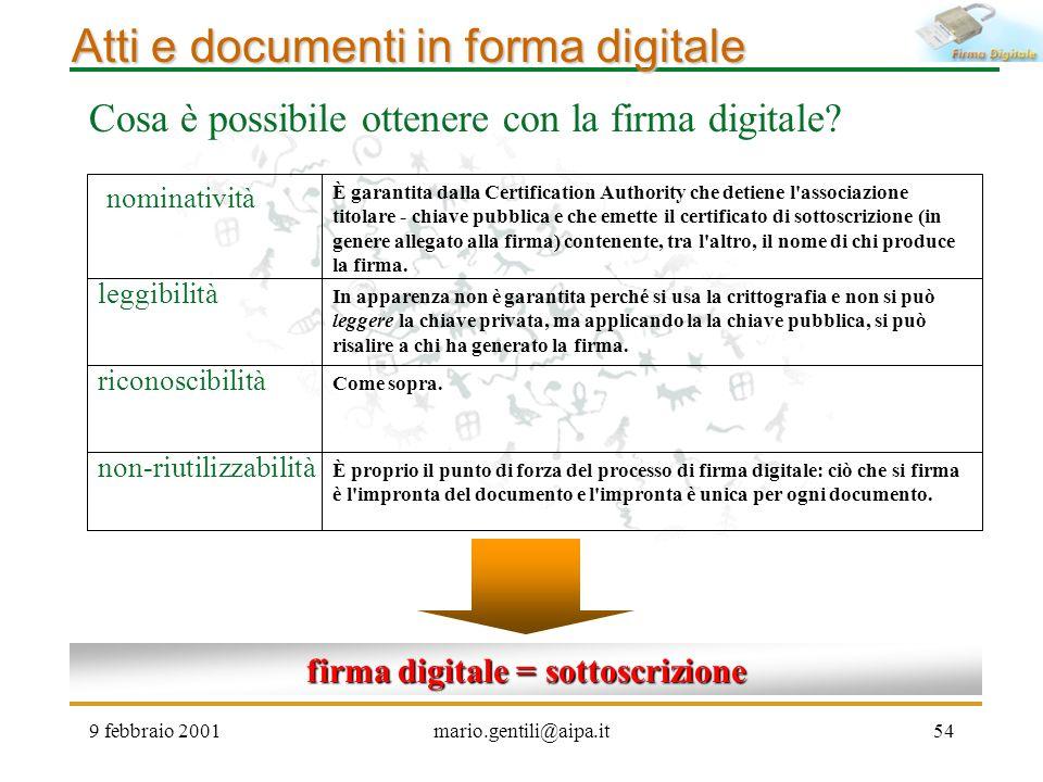 firma digitale = sottoscrizione