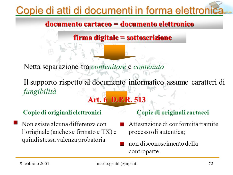 Copie di atti di documenti in forma elettronica