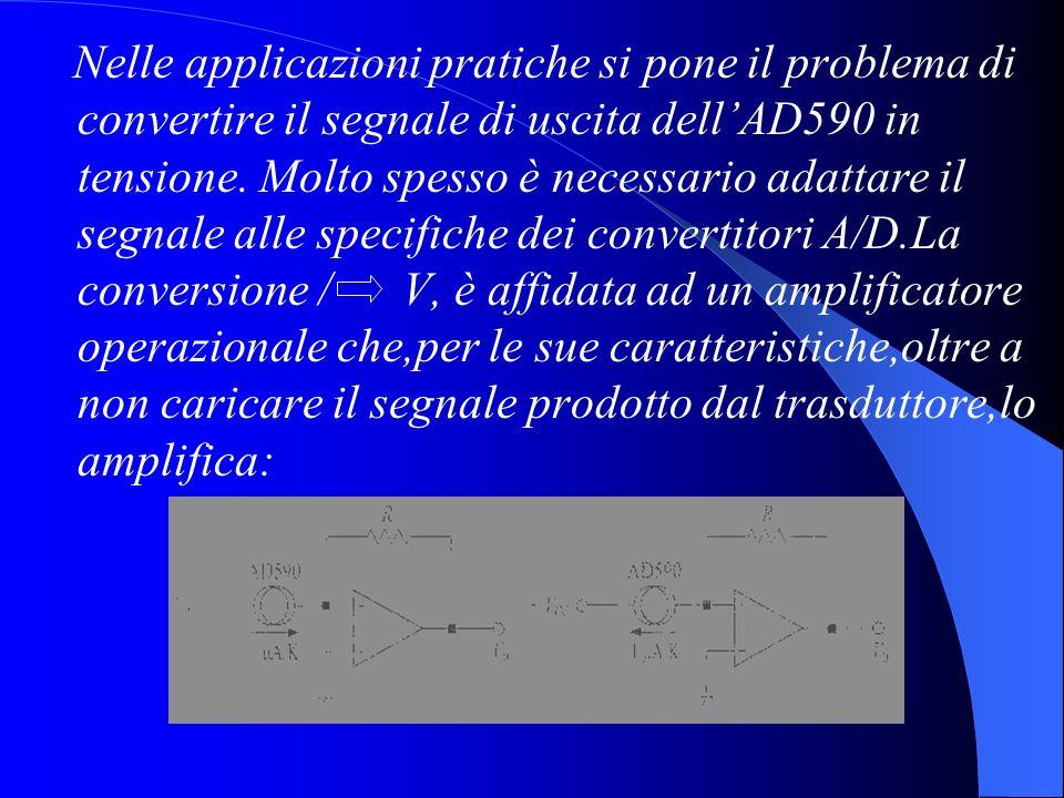Nelle applicazioni pratiche si pone il problema di convertire il segnale di uscita dell'AD590 in tensione.