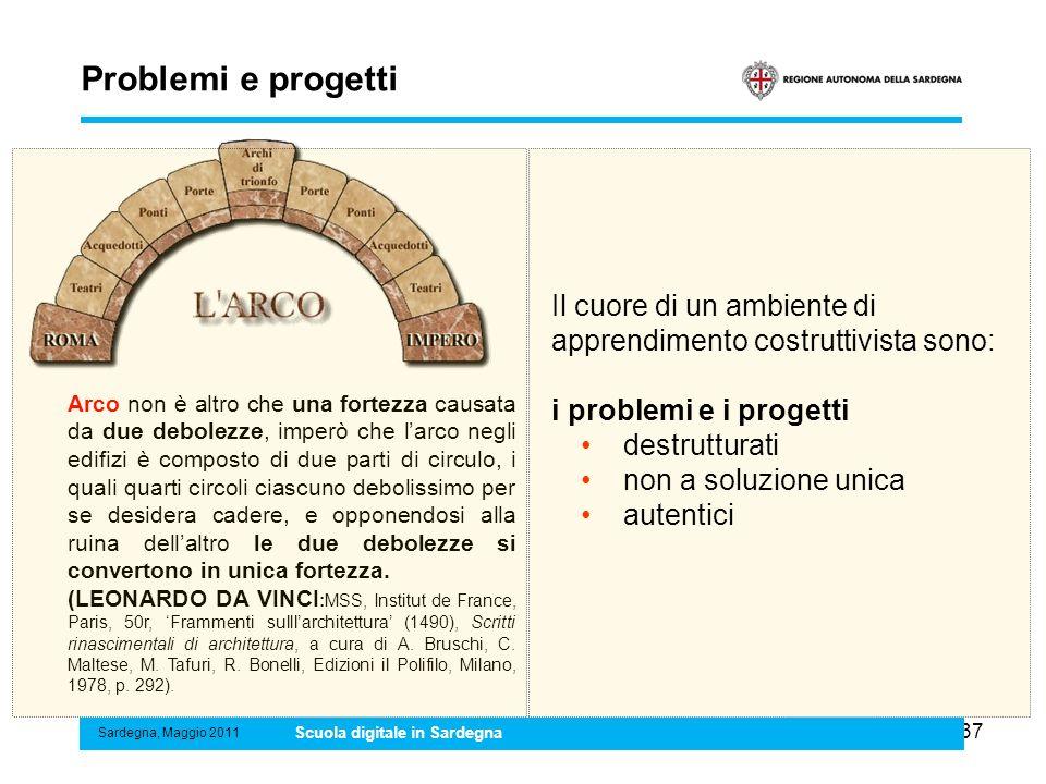 Problemi e progetti Il cuore di un ambiente di apprendimento costruttivista sono: i problemi e i progetti.