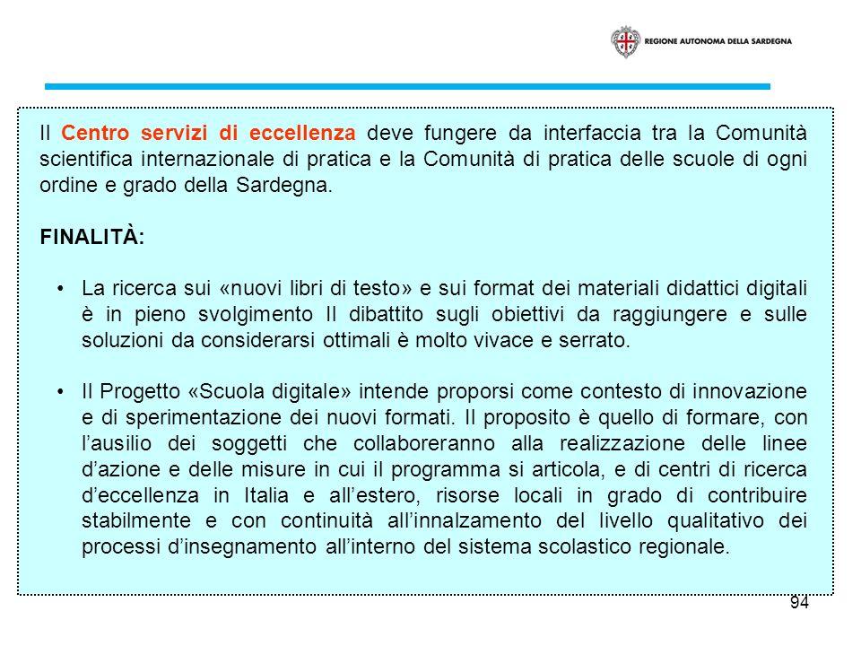 Il Centro servizi di eccellenza deve fungere da interfaccia tra la Comunità scientifica internazionale di pratica e la Comunità di pratica delle scuole di ogni ordine e grado della Sardegna.