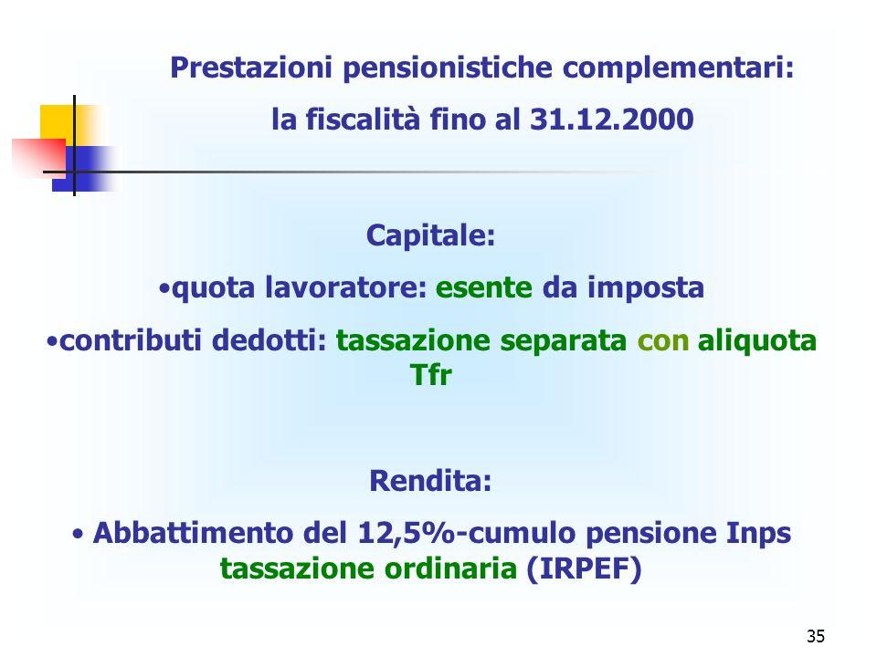 Prestazioni pensionistiche complementari: