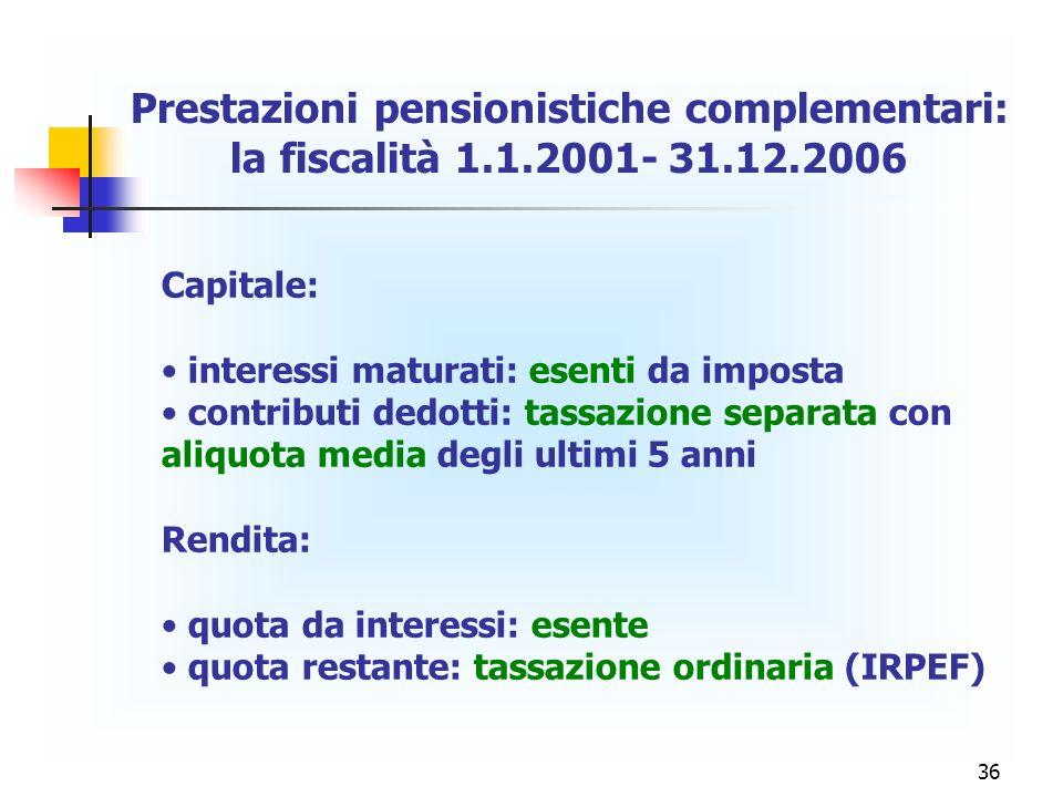 Prestazioni pensionistiche complementari: la fiscalità 1. 1. 2001- 31