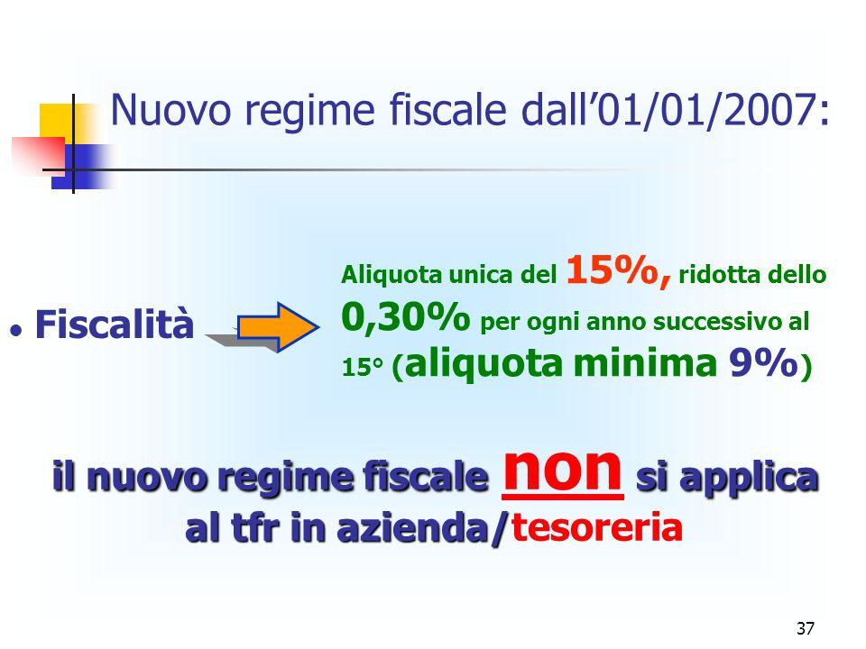 il nuovo regime fiscale non si applica al tfr in azienda/tesoreria