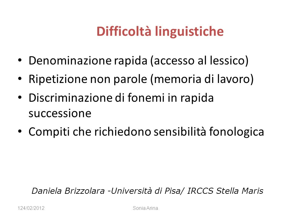 Difficoltà linguistiche