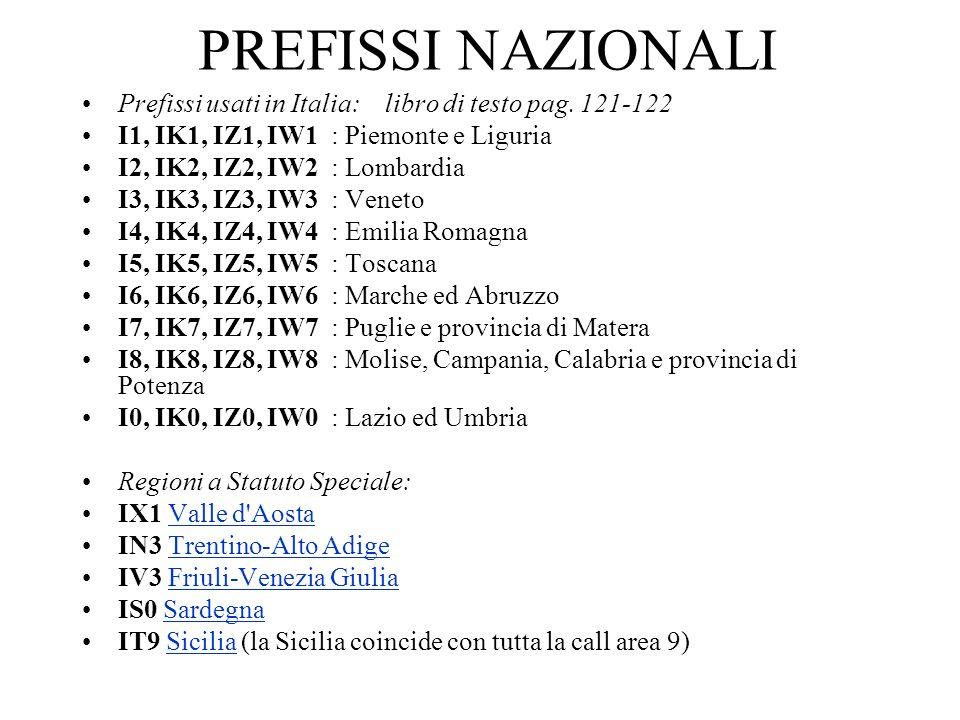 PREFISSI NAZIONALI Prefissi usati in Italia: libro di testo pag. 121-122. I1, IK1, IZ1, IW1 : Piemonte e Liguria.