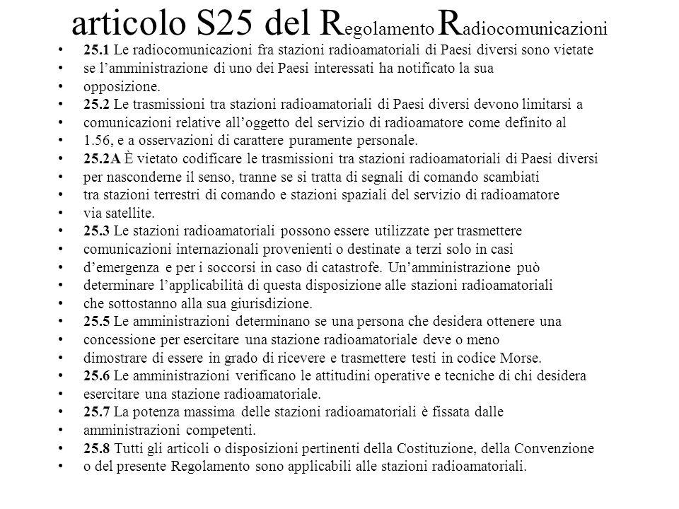 articolo S25 del Regolamento Radiocomunicazioni